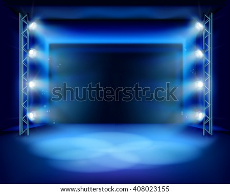 Empty stage with spotlights. Vector illustration. - stock vector