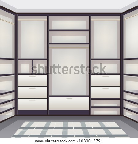 Empty Storage Room Wardrobe Cloakroom Interior Organization With Shelving Hanging Rails Shoe Racks White Realistic Vector