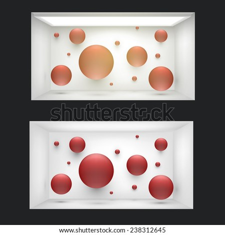 Empty storefront or podium with lighting and a big window - stock vector