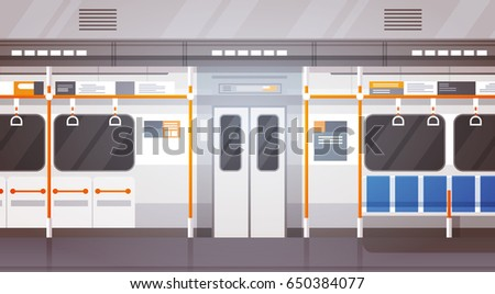 empty subway car interior modern city stock vector 650384077 shutterstock. Black Bedroom Furniture Sets. Home Design Ideas