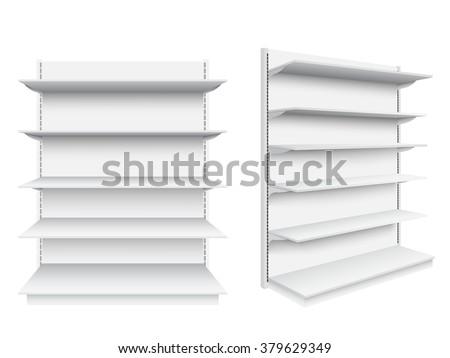 Empty supermarket shelf on white background.Vector illustration. - stock vector
