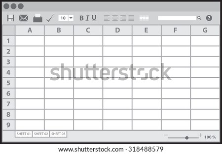 Empty table document, vector illustration - stock vector