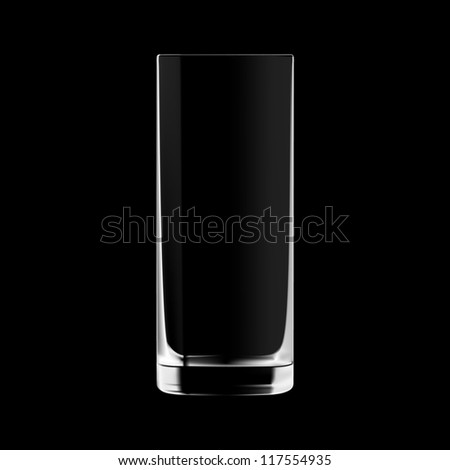 Empty tall drinking glass isolated on black background. Transparent glass. - stock vector