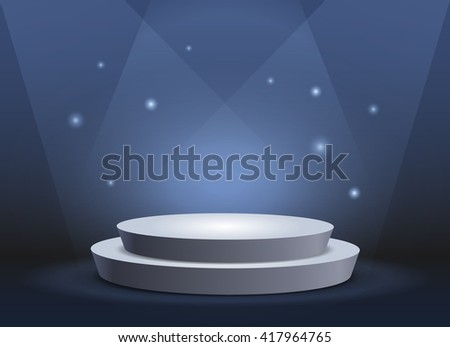 Empty template of white round podium on deep blue background