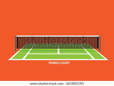 Empty tennis court with divider net in the middle, viewed from one end of court. Vector illustration isolated on vibrant orange background. - stock vector