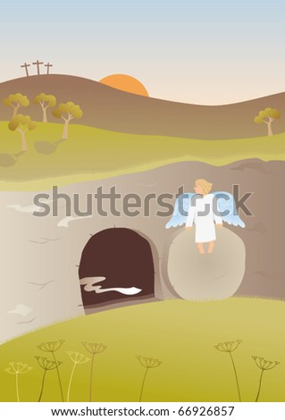 Empty tomb. The Easter story. Angel sitting on the stone in the front of the empty tomb of Jesus. - stock vector
