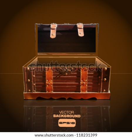 empty treasure chest background to place your object. - stock vector