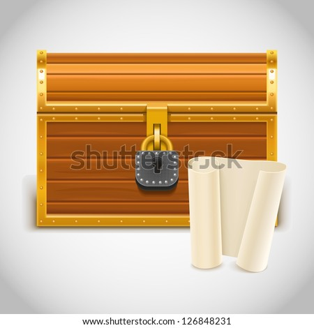 empty treasure chest vector icon xxl - stock vector