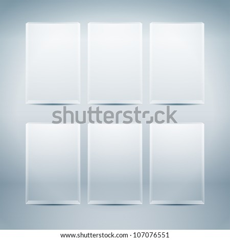 Empty vector glass boxes - stock vector