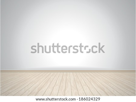 Empty vector room with wooden floor - stock vector