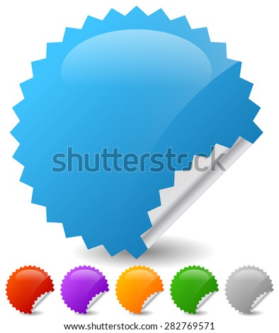 Empty vector stickers with peeling effect. 6 colors: Blue, green, orange, purple, red and gray. - stock vector