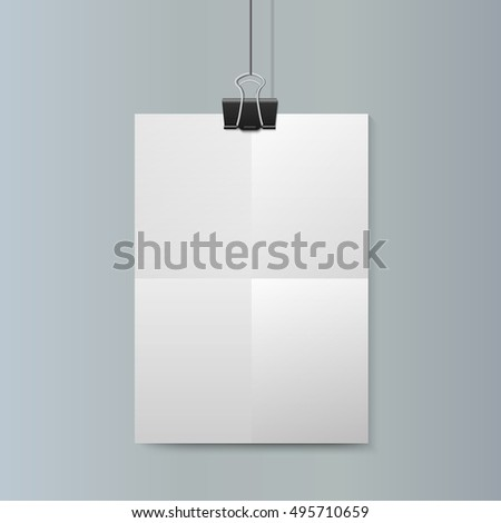 Empty vector vertical white paper poster mockup with traces of the folded sheet and big paper clip on grey wall.