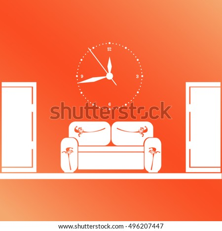Empty waiting room sofa front door stock vector hd royalty free empty waiting room sofa in front of the door and a clock on the wall thecheapjerseys Gallery