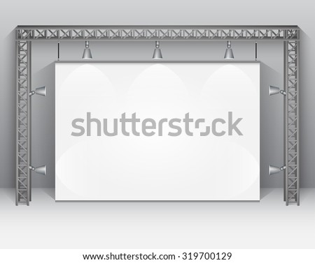Empty white banner for product advertising with lighting. Vector Illustration - stock vector