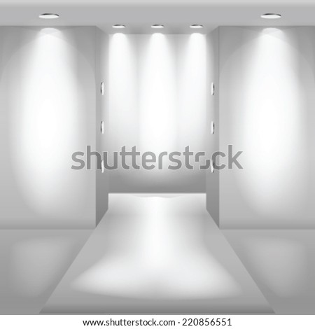 Empty white interior. Fashion podium. - stock vector