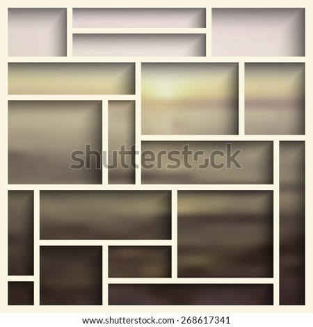 Empty white  modern shelves on the blurred photo wallpaper. Vector illustration - stock vector