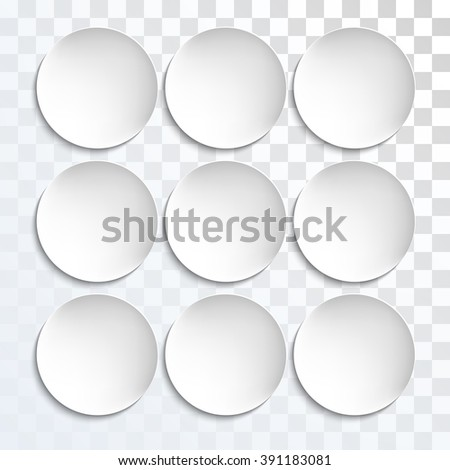 Empty white paper plate shapes. Vector round plates Illustration on transparent background. Plates background for your design. - stock vector