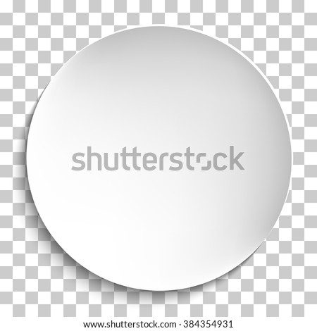 Empty white paper plate. Vector round plate Illustration on transparent background. Plate background for your design. - stock vector