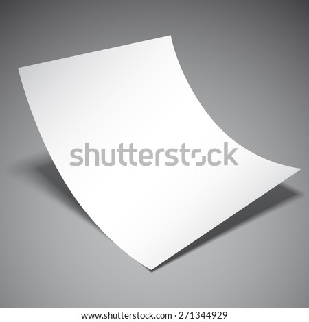 Empty white paper sheet on grey background - stock vector
