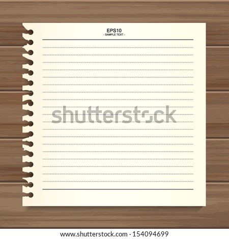 Empty white paper sheet on wooden background - Vector illustration