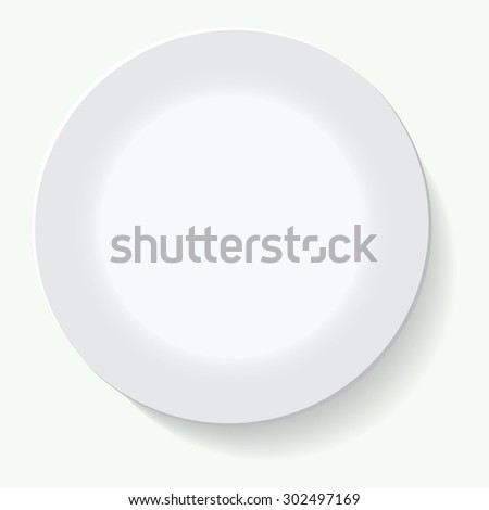 Empty white plate. Illustration on white background - stock vector