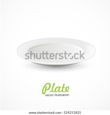 Empty white plate on white background - stock vector