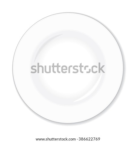 empty white plate, vector illustration