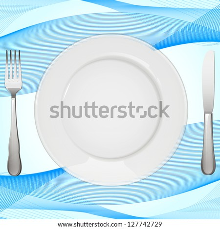 Empty white plate with tablecloth to place your concept. vector design - stock vector