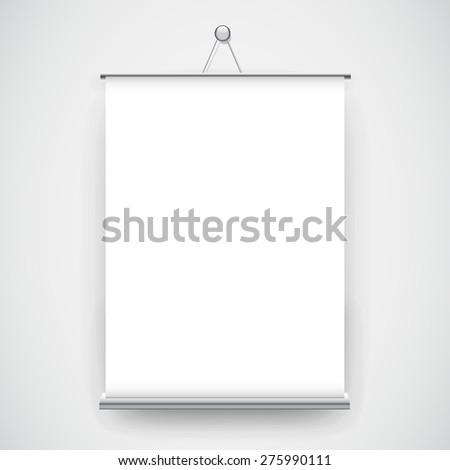 Empty white roll up banner hanging on the wall background - stock vector