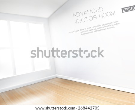 Empty white room with large window and shiny wooden floor. Detailed high quality vector illustration. - stock vector