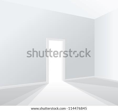empty white room with opened door - stock vector