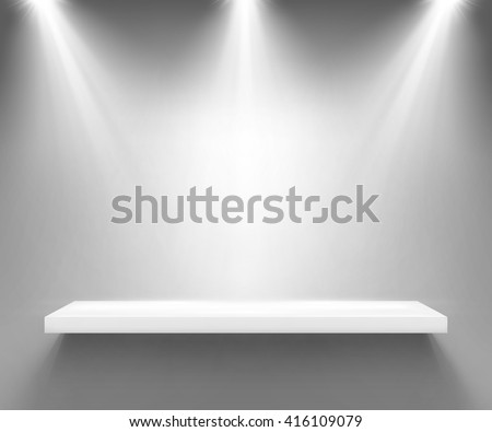 Empty white shelf illuminated by three spotlights. Vector background with boutique showcase or interior decoration furniture