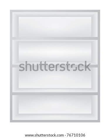 Empty white shelves for exhibit - stock vector