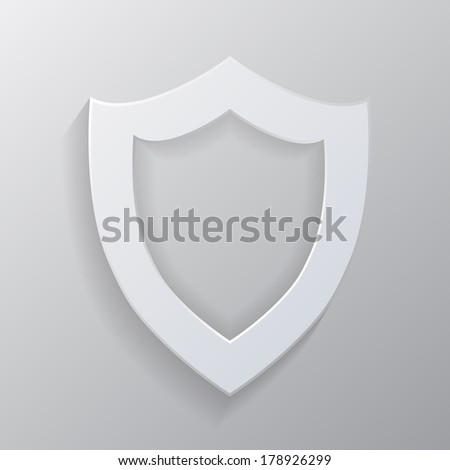 Empty white shield. vector illustration. eps10. gray background - stock vector