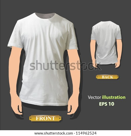 Empty white shirt design. Realistic vector illustration.