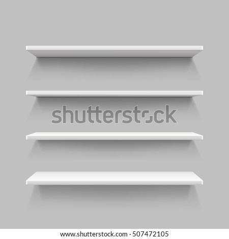 Empty white shop shelf, retail shelves, 3d store wall display vector illustration