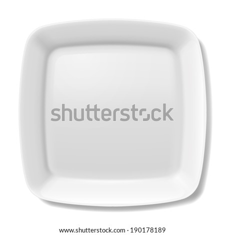 Empty white square plate with rounded borders isolated on white background - stock vector