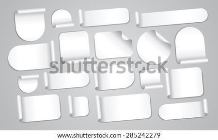 Empty white stickers mega set - stock vector