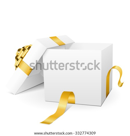 Empty White Vector Gift Box Icon with Golden Package Ribbon Isolated on White Background - For Christmas Season, Easter Season, Valentines Day and Birthday Greeting Cards - Present with Open Lid - stock vector