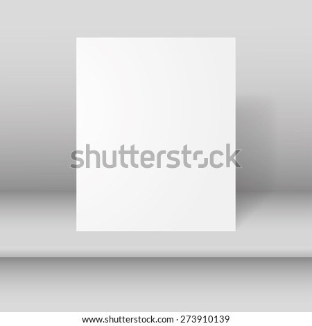 Empty white vector paper mockup hanging with paper clips. - stock vector