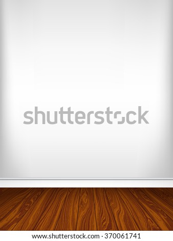 Empty white wall and parquet. Interior empty room. Vector illustration EPS 10. Vertical background.