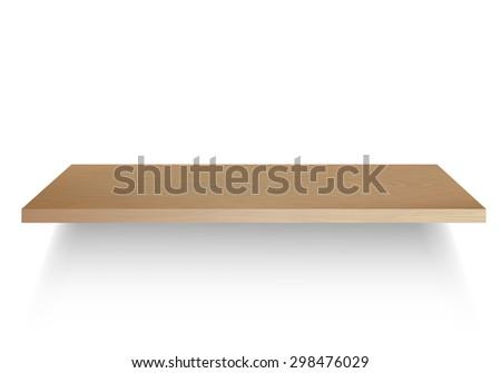 Empty Wood Shelf, Vector Illustration - stock vector
