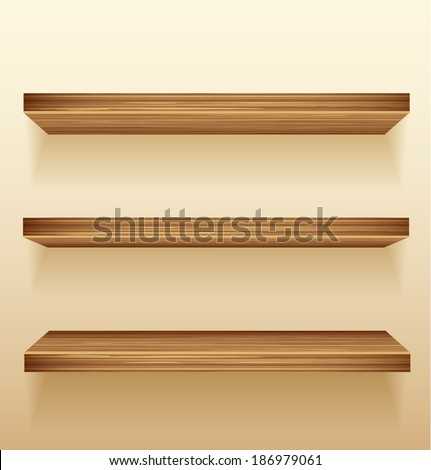 Empty wood shelves on wall - stock vector