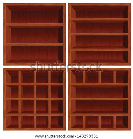Empty Wooden Cell Shelf. Dark Red Wood Set - stock vector