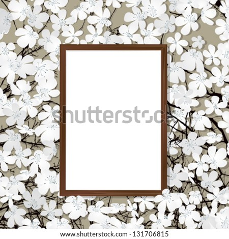 Empty wooden frame on a bed of flowers - stock vector
