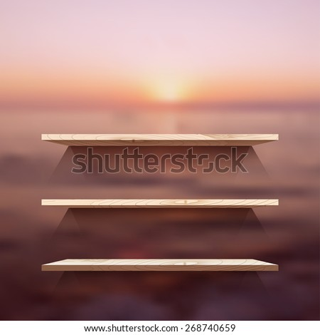 Empty wooden  modern shelves on the blurred photo wallpaper. Vector illustration