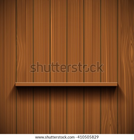 Empty wooden shelf for tools. Rustic background. Stock vector illustration. - stock vector
