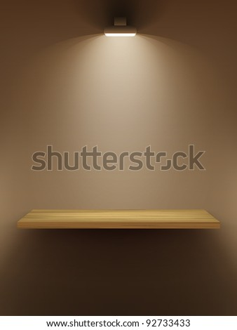 Empty wooden shelf on the wall, illuminated by searchlights. Part of set.  Vector interior.