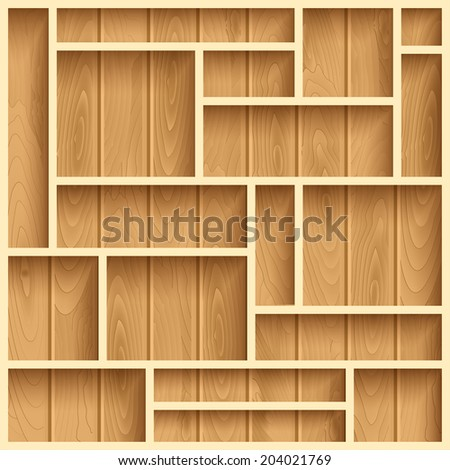 Empty wooden shelves, photo realistic vector background