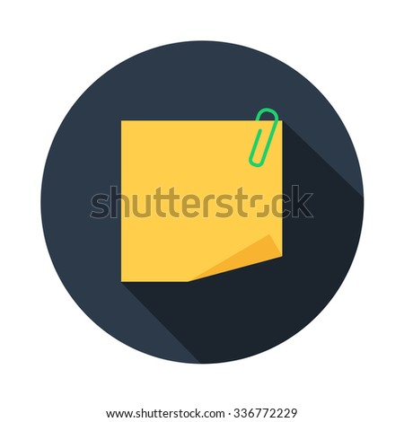empty yellow blank note paper with clip, divorced single sheet of paper color vector flat icon in color round with long shadow - stock vector